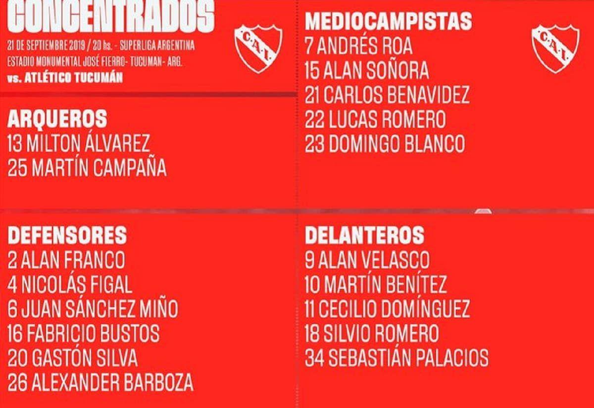 Superliga: los once de Independiente ante Atlético Tucumán
